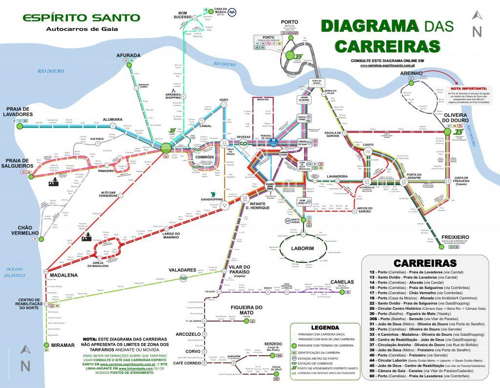 Diagrama Mapa Espirito Santo Autocarros De Gaia